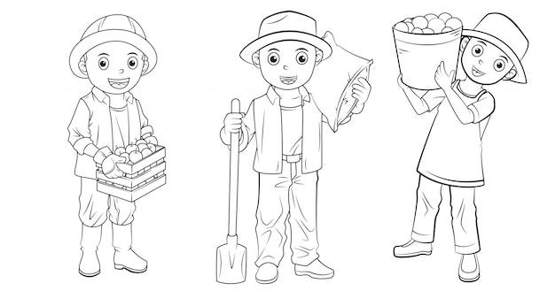 Coleção de criador de desenhos animados usada para colorir livro Vetor Premium