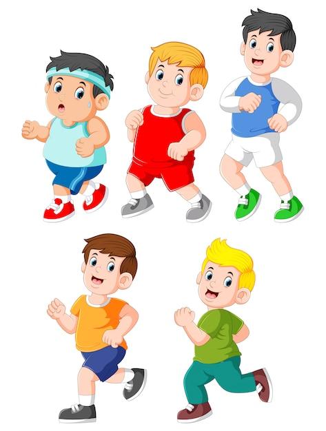 Coleção de crianças correndo conjunto de coleta Vetor Premium