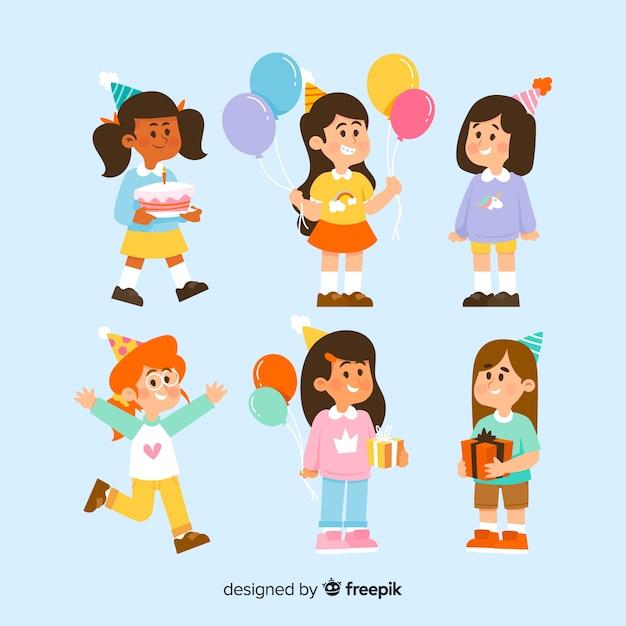 Coleção de crianças de aniversário Vetor grátis