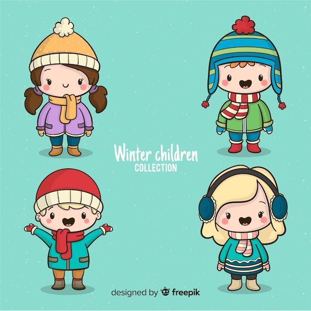 Coleção de crianças de inverno Vetor grátis