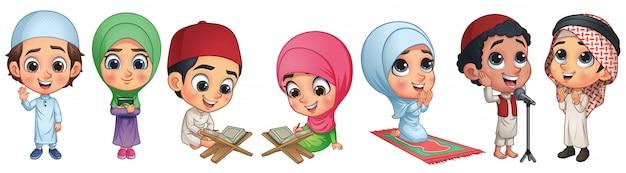 Coleção de crianças muçulmanas Vetor Premium