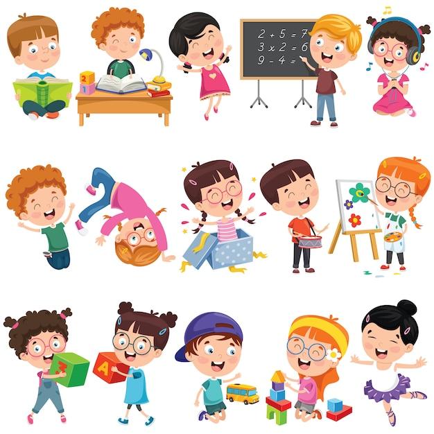 Coleção de crianças pequenas dos desenhos animados Vetor Premium