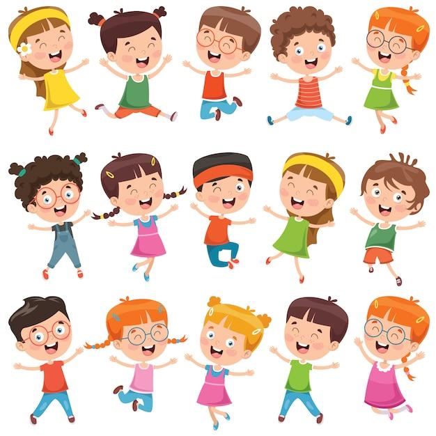 Colecao De Criancas Pequenas Dos Desenhos Animados Vetor Premium