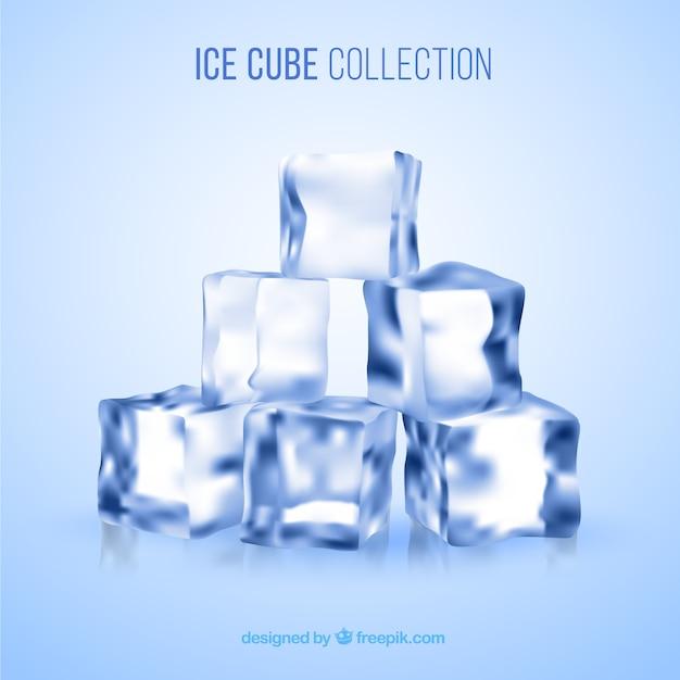 Coleção de cubo de gelo com estilo realista Vetor grátis