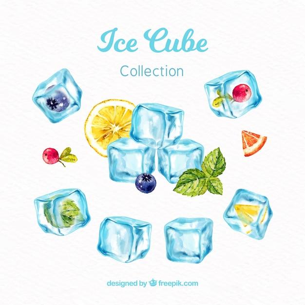 Coleção de cubo de gelo em aquarela Vetor grátis