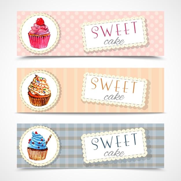 Coleção de cupcakes de sweetshop set Vetor grátis