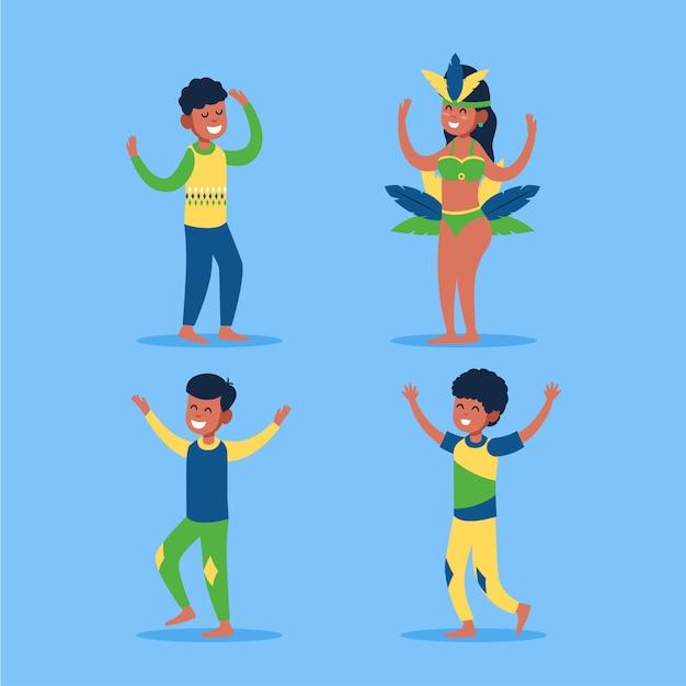 Coleção de dançarina de carnaval brasileiro Vetor grátis