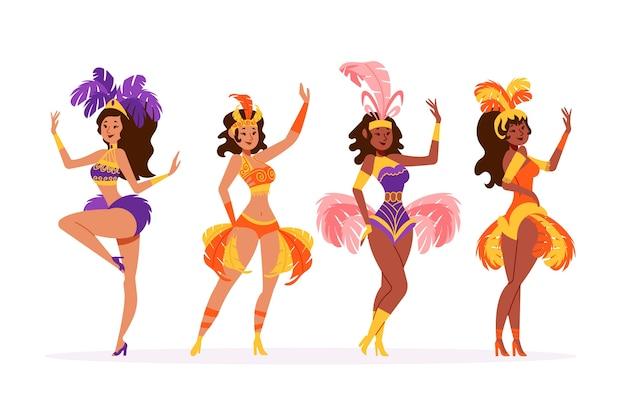 Coleção de dançarina de carnaval de mulheres brasileiras Vetor grátis