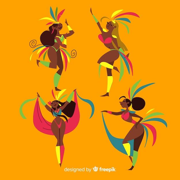Coleção de dançarino de carnaval brasileiro Vetor grátis