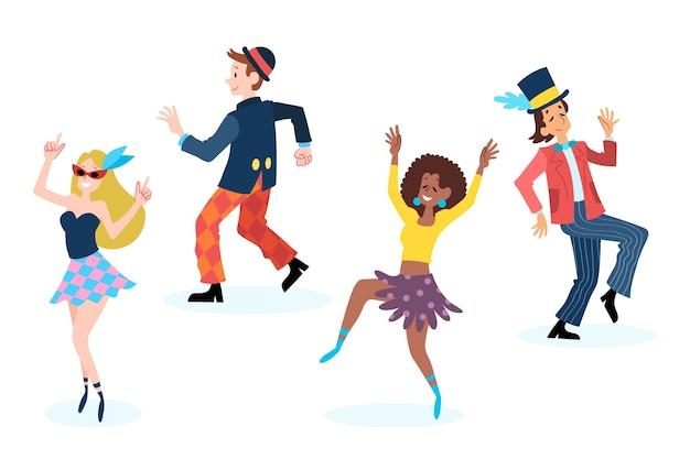 Coleção de dançarinos de carnaval em fundo branco Vetor grátis