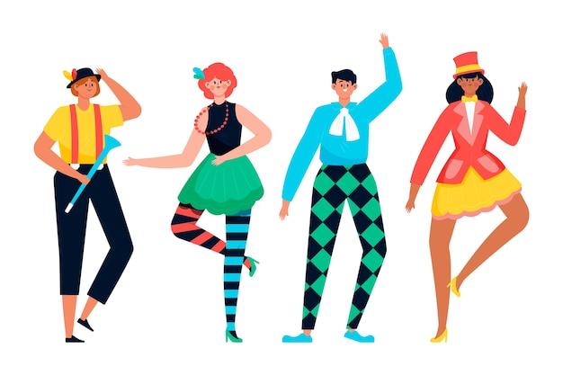 Coleção de dançarinos e movimentos de carnaval isolada no fundo branco Vetor grátis