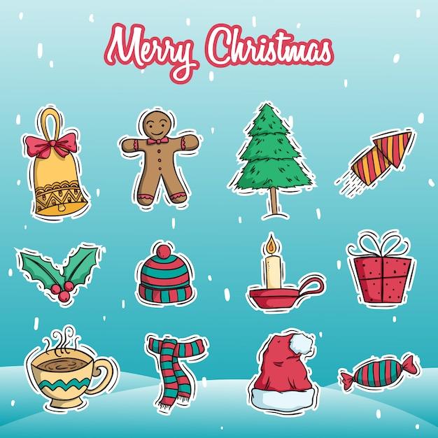 Coleção de decoração de natal com estilo doodle colorido sobre fundo de neve Vetor Premium