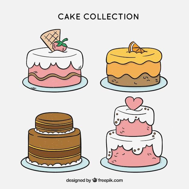 Coleção de deliciosos bolos com vidros Vetor grátis