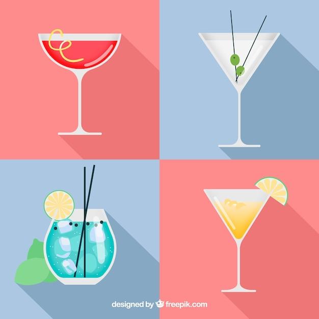 Coleção de deliciosos cocktails em estilo simples Vetor grátis