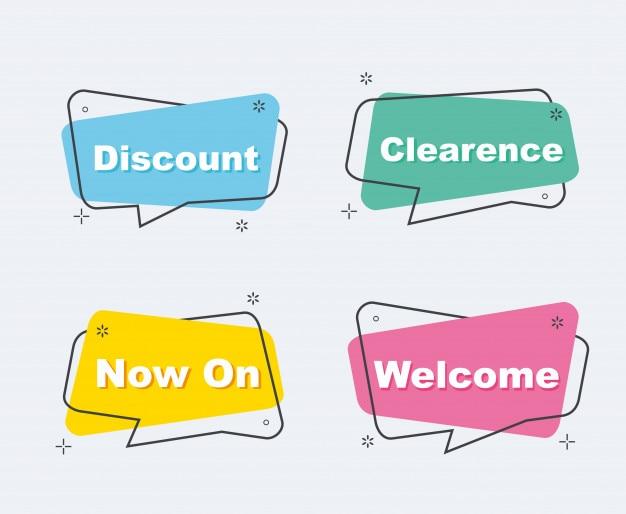 Coleção de desconto de venda banners de origami Vetor Premium