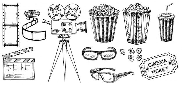 Coleção de desenho de cinema. ilustrações de mão desenhada. elementos de filme e filme no estilo de desenho. para cartazes, banners, folhetos, publicidade, outdoors. óculos 3d, pipoca, ingressos de cinema Vetor Premium