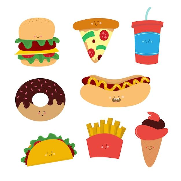 Coleção de desenho vetorial de junk food Vetor Premium
