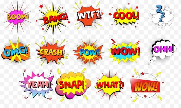 Coleção de desenhos animados, bolhas do discurso em quadrinhos. Vetor Premium
