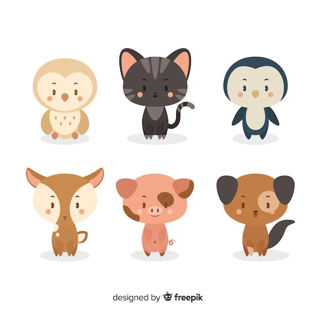 Coleção de desenhos animados de animais domésticos Vetor grátis