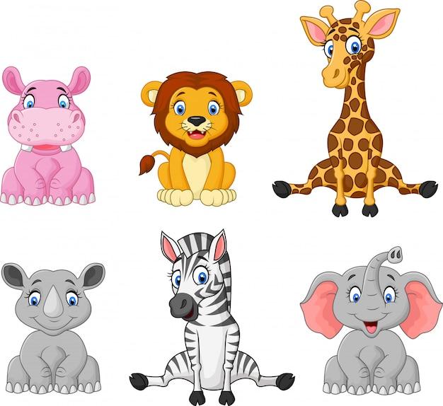 Coleção de desenhos animados de animais selvagens Vetor Premium