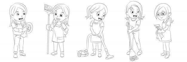 Colecao De Desenhos Animados De Meninas Limpando A Casa Para