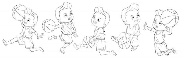 Colecao De Desenhos Animados De Meninos Jogando Basquete Para