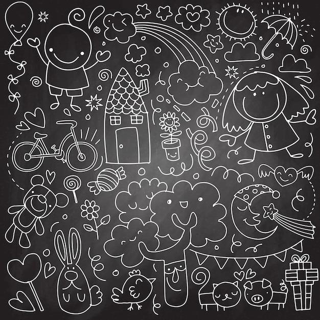 Coleção de desenhos de crianças fofos de crianças Vetor Premium