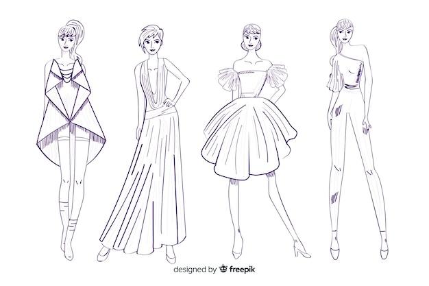 Coleção de desenhos de moda com modelos Vetor grátis