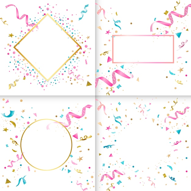 Coleção de design colorido de confete Vetor grátis