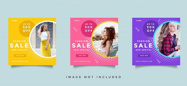 Coleção de design de banner de mídia social de moda Vetor Premium