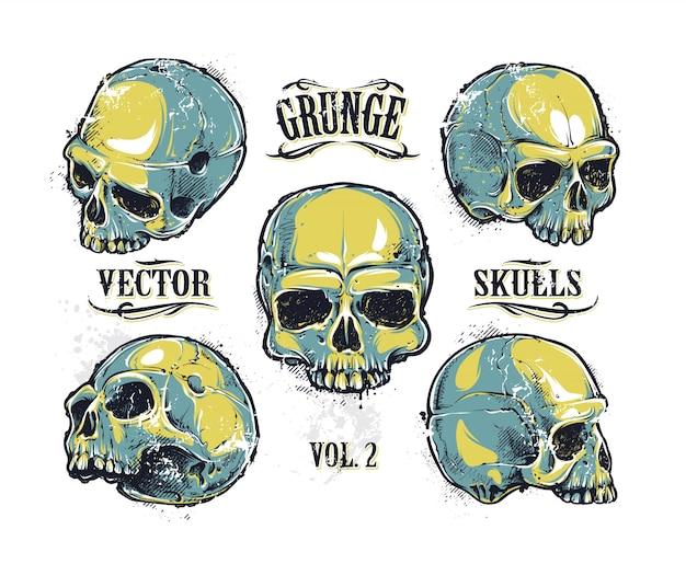Coleção de design de crânio Vetor grátis