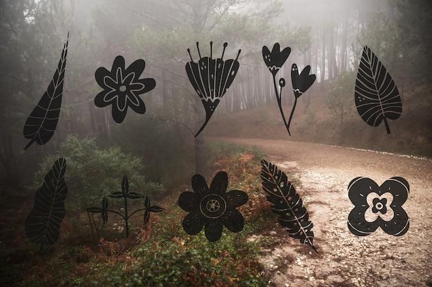 Coleção de design de folhas e paisagem da floresta Vetor grátis