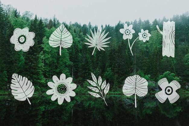 Coleção de design de folhas e paisagem de árvores verdes Vetor grátis