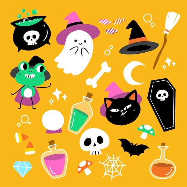 Coleção de design de ilustração de conjunto de caracteres adorável fofo e assustador para halloween Vetor Premium