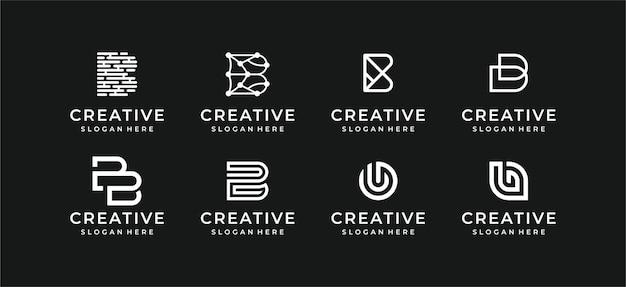 Coleção de design de ilustração de logotipo abstrato Vetor Premium