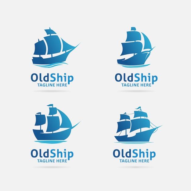 Coleção de design de logotipo antigo navio Vetor Premium
