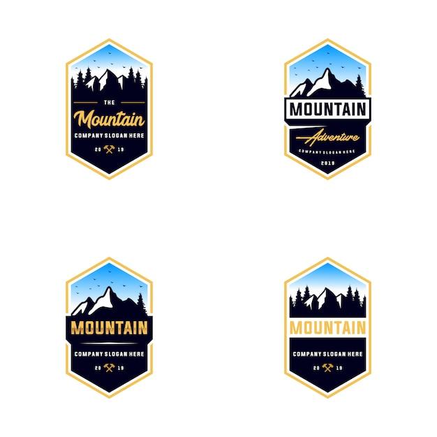 Coleção de design de logotipo ao ar livre de montanha Vetor Premium