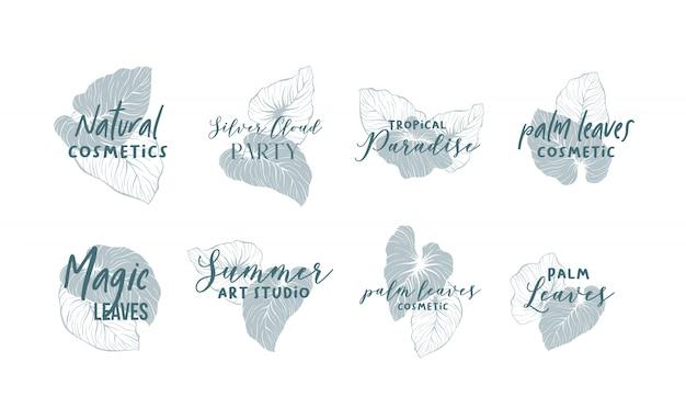 Coleção de design de logotipo de folhas de palmeira Vetor grátis