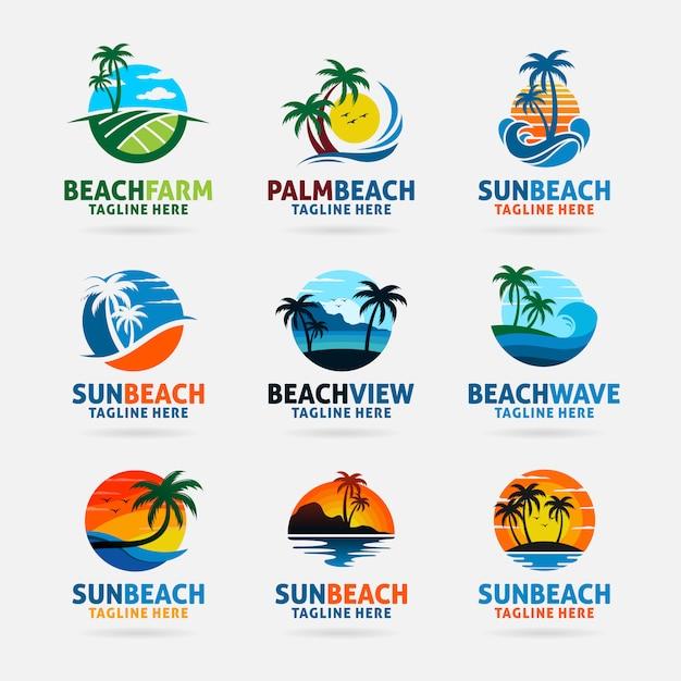 Coleção de design de logotipo de praia Vetor Premium