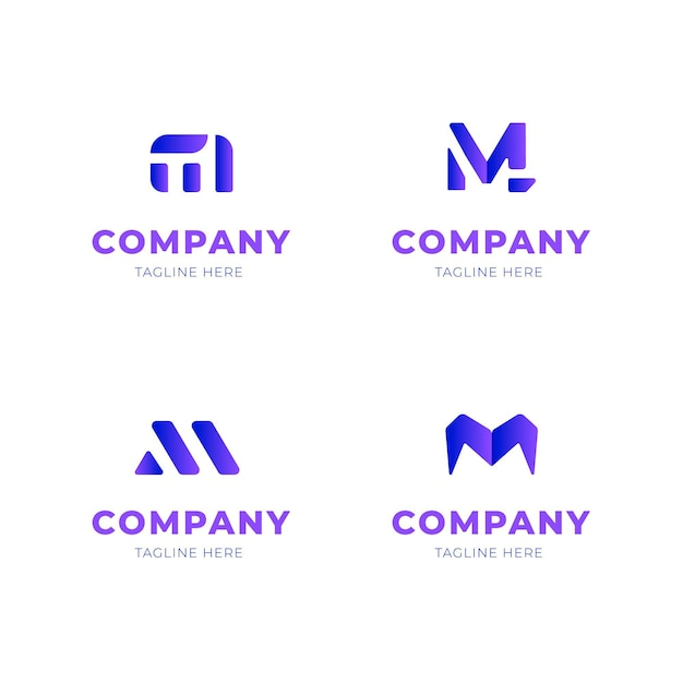 Coleção de design de logotipo m Vetor Premium