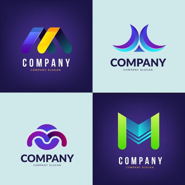Coleção de design de logotipo m Vetor grátis