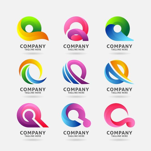 Coleção de design de logotipo moderno letra q Vetor Premium