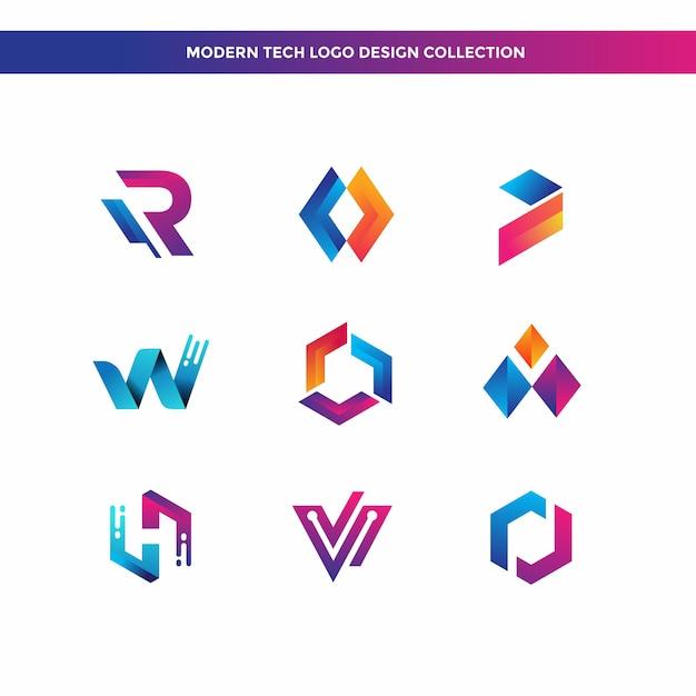 Coleção de design de logotipo moderno tech Vetor Premium