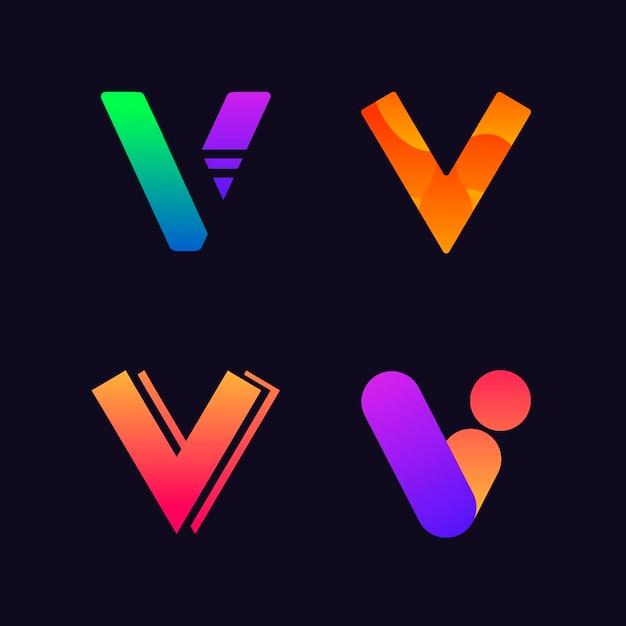 Coleção de design de logotipo v Vetor grátis
