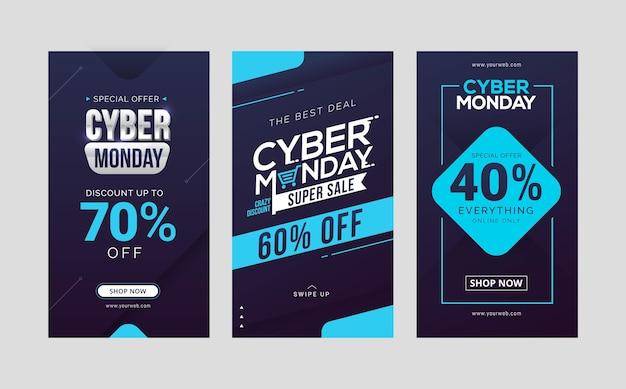 Coleção de design de modelo de histórias de venda de cyber segunda-feira Vetor Premium