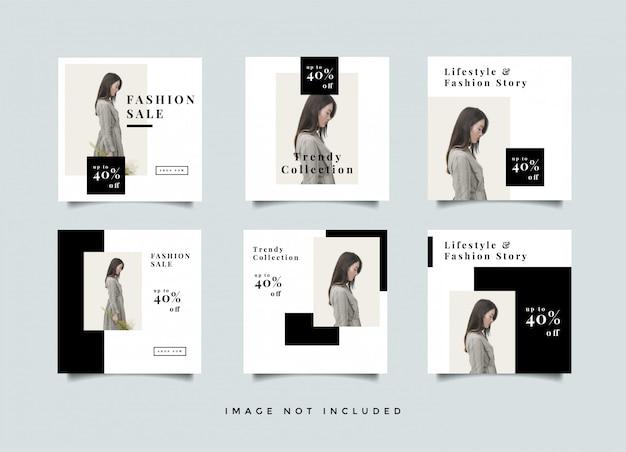 Coleção de design de pós-promoção de feed de mídia de moda social Vetor Premium