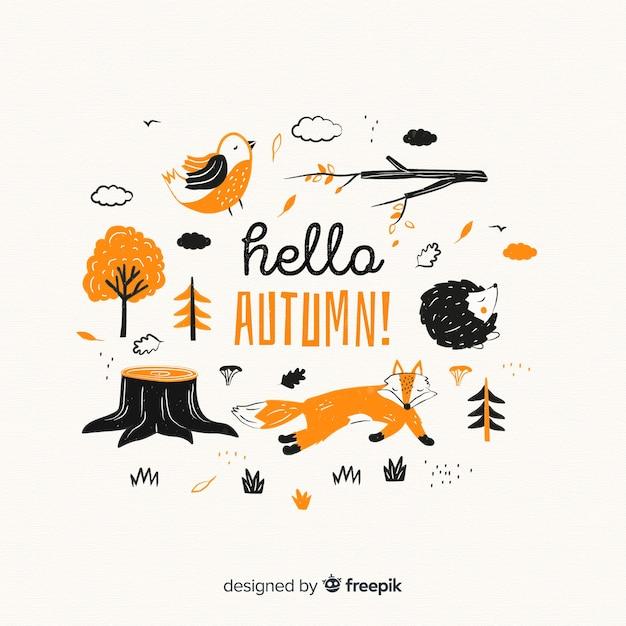 Coleção de design plano de animais da floresta outono Vetor grátis