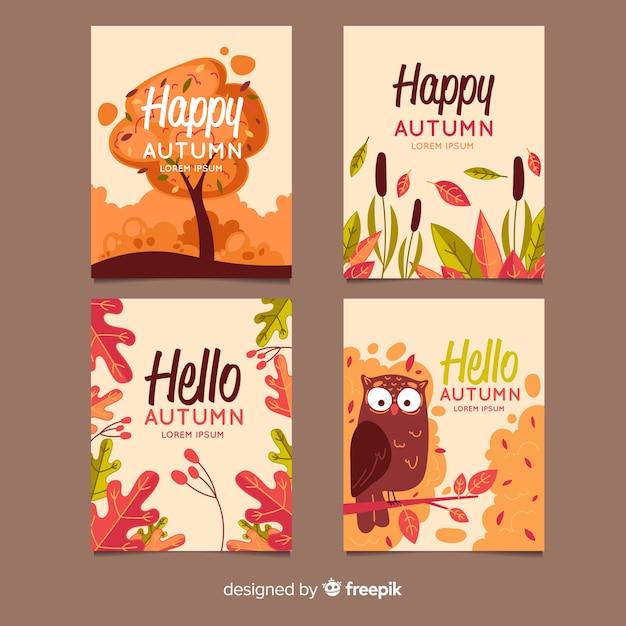 Coleção de design plano de cartões de outono Vetor grátis