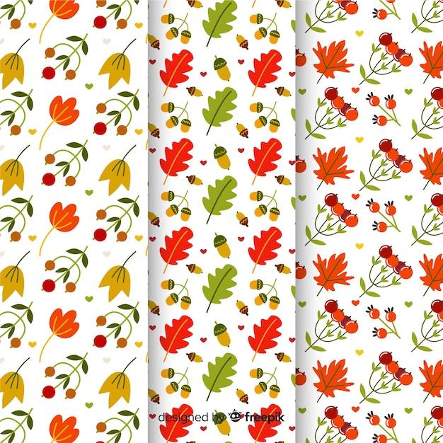 Coleção de design plano de padrões de outono Vetor grátis