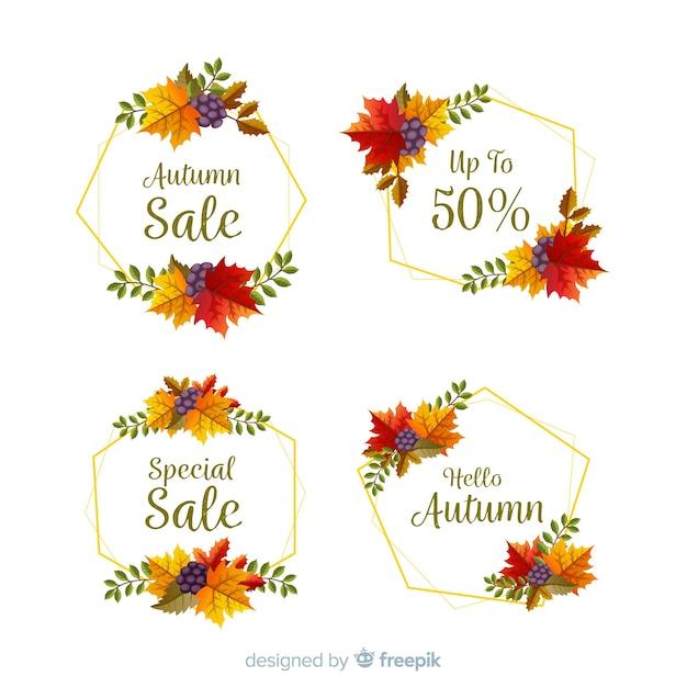 Coleção de design plano de rótulos de venda outono Vetor grátis